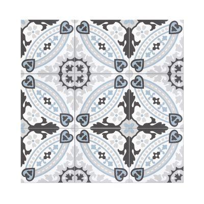 Serie MADLEINE, Flora Azul Feinsteinzeug 20×20 / 0,8 cm (R9), Preis: 59,00 € / m² *