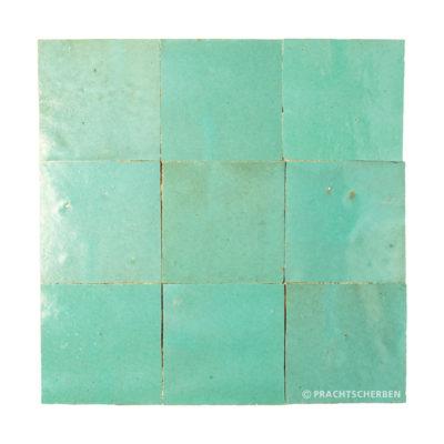 ZELLIGES aus Marokko, glasierte Terracotta, Turquoise Light Nr. 38 , 10×10 / 1,0 cm, Preis: 140,00 € / m² *