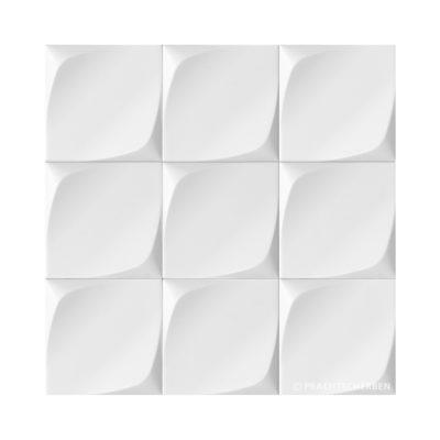 3D-WAVE, blanco mate, 12,5×12,5 cm Preis: auf Anfrage